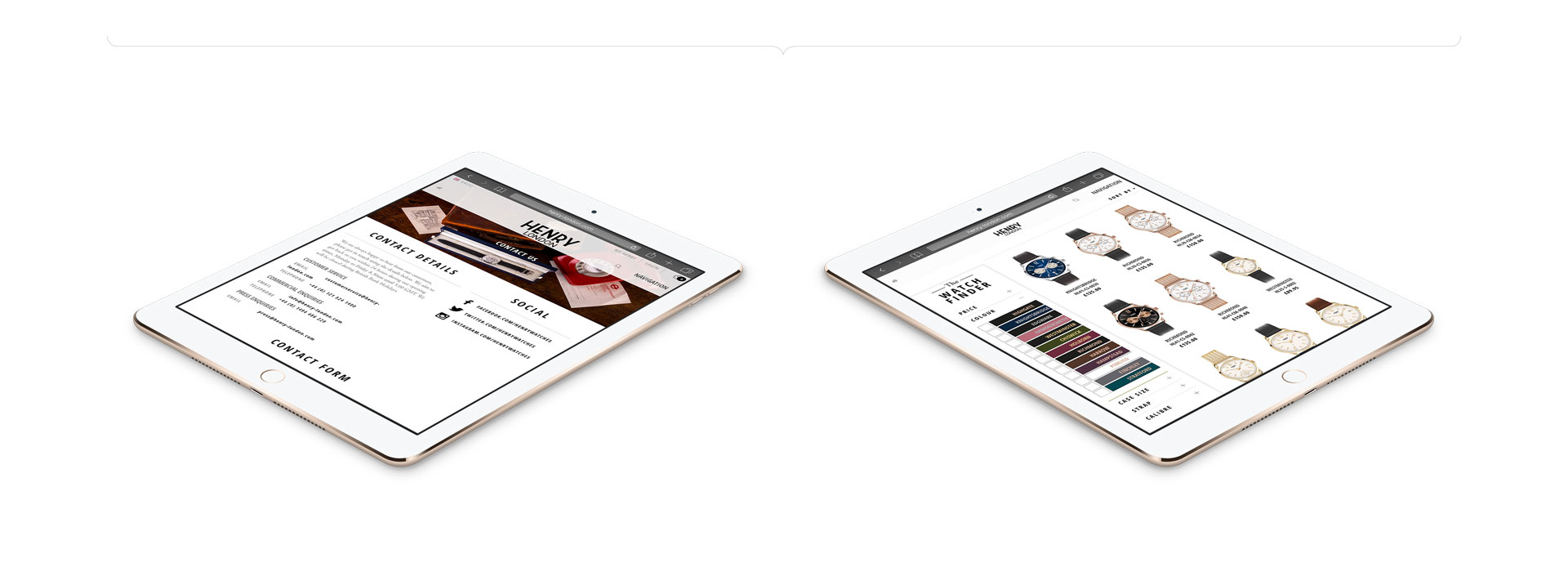 ecommerce website design iPad